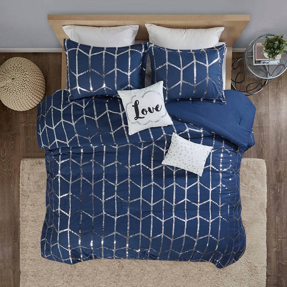 Twin Twin Xl 4pc Arielle Metallic Printed Comforter Set Navy Silver