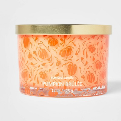15oz Lidded Glass Jar Orange Pumpkin Print 3-Wick Pumpkin Brulee Candle - Opalhouse™