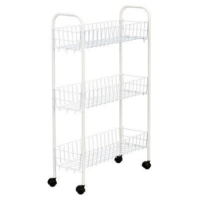 Household Essentials - 3-Shelf Utility Cart - Slimline - White