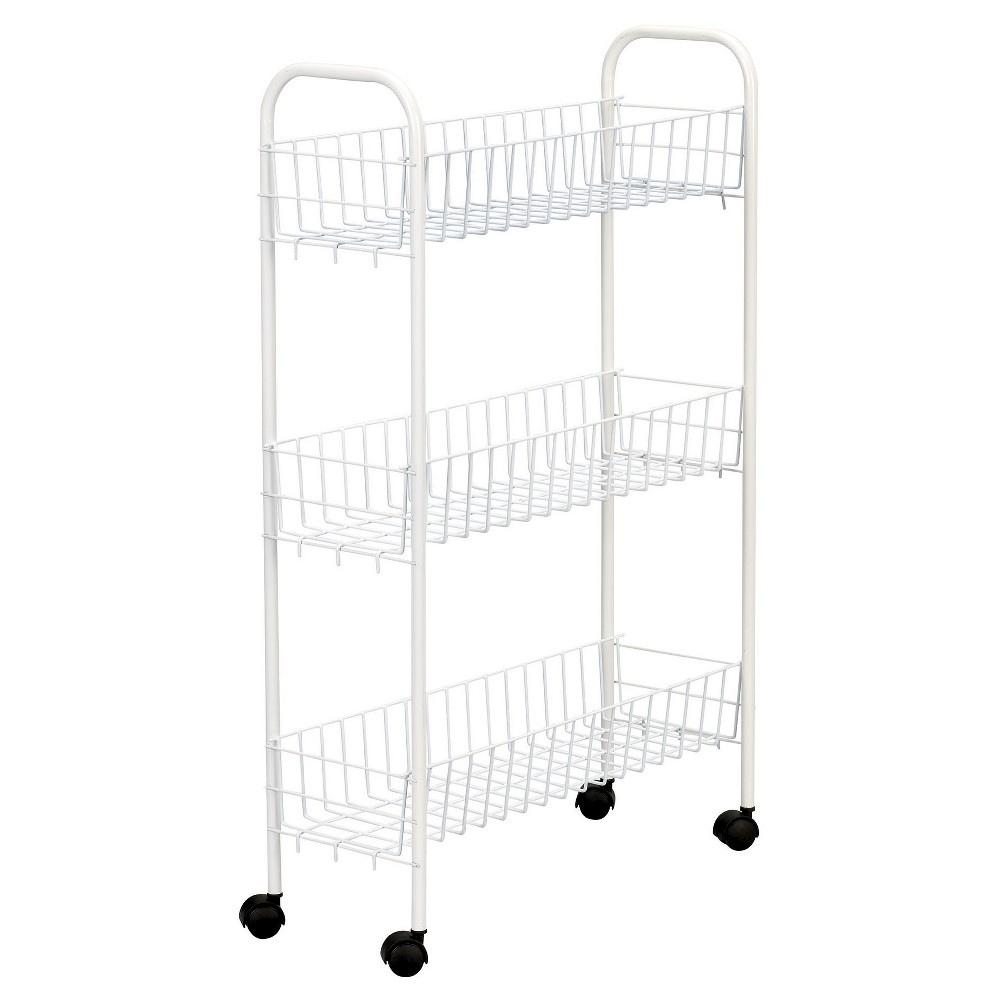 Image of Household Essentials - 3-Shelf Utility Cart - Slimline - White