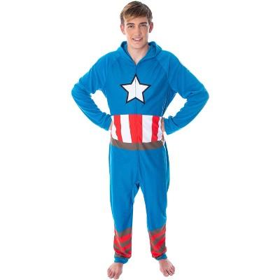Marvel Men's Captain America Classic Cap Costume Pajama Union Suit