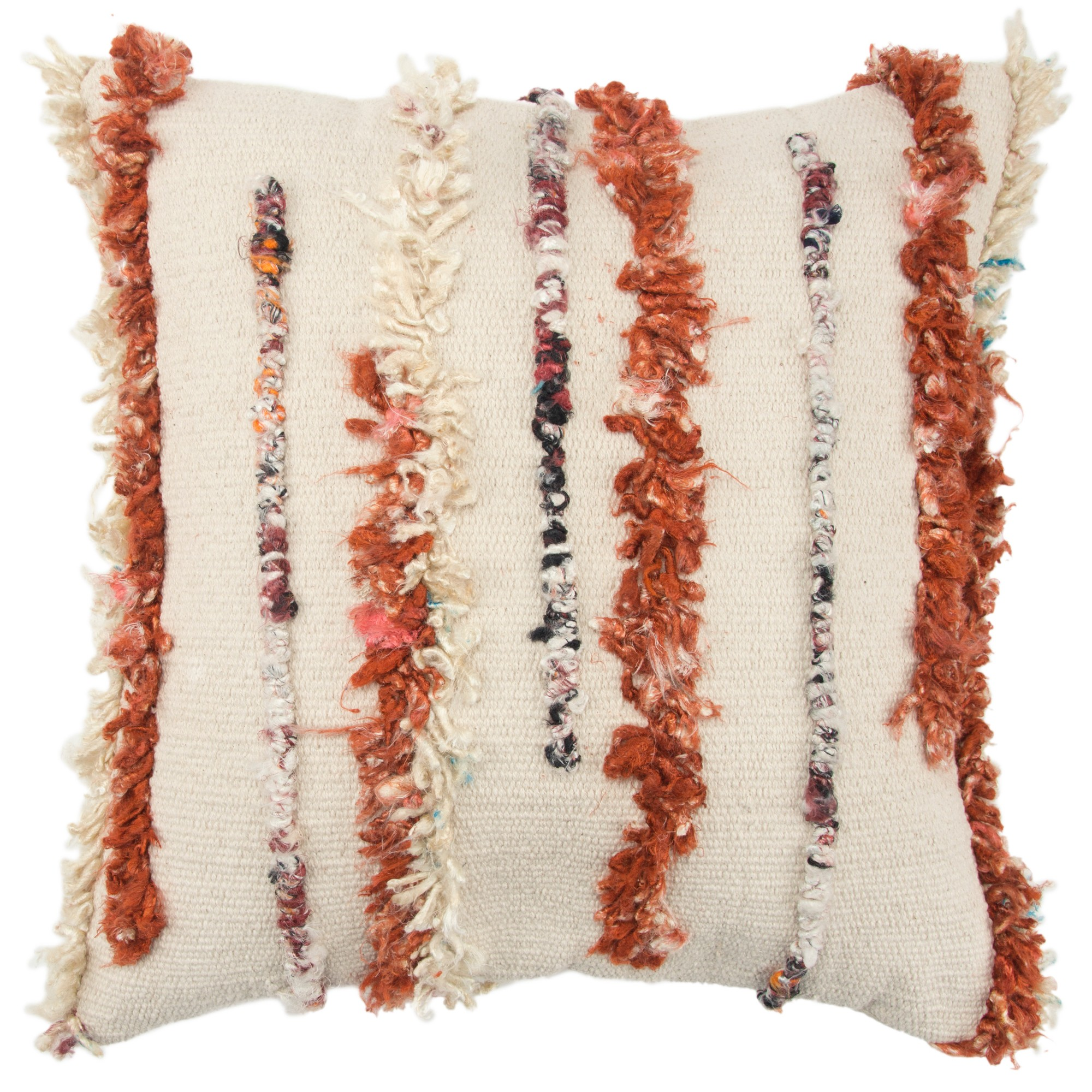 Stripe Decorative Filled Oversize Square Throw Pillow Orange - Rizzy Home