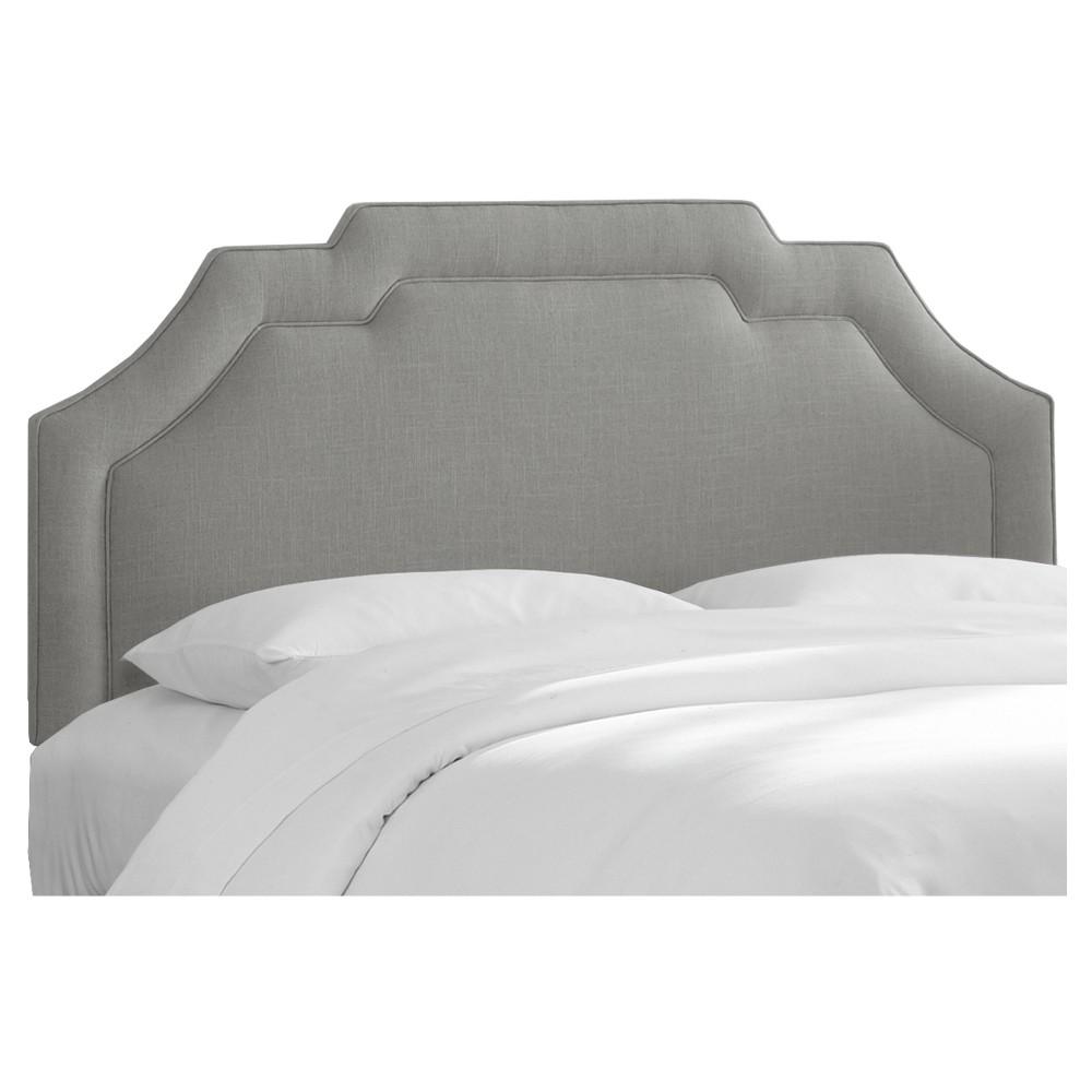 Axel Notched Border Headboard - Queen - Linen Gray - Skyline Furniture
