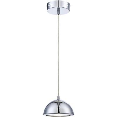 "Possini Euro Design Chrome White Mini Pendant Light 6"" Wide Modern LED Dome Fixture for Kitchen Island Dining Room"