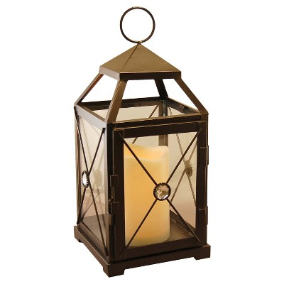 Lumabase Warm Black Gem Metal LED Lantern with Battery Operated Candle