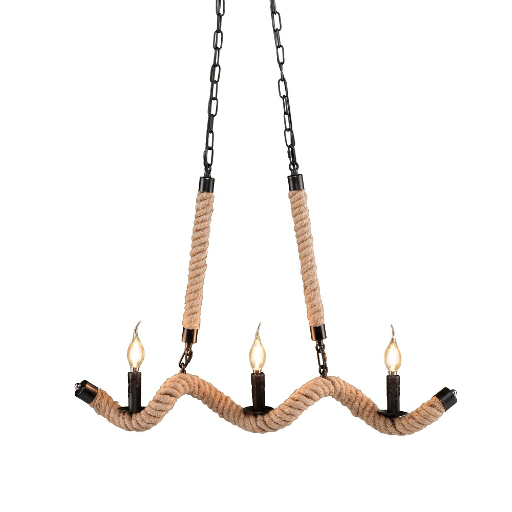 Deirdre Twisted Rope Chandelier - Natural Rope - Aiden Lane, Brown