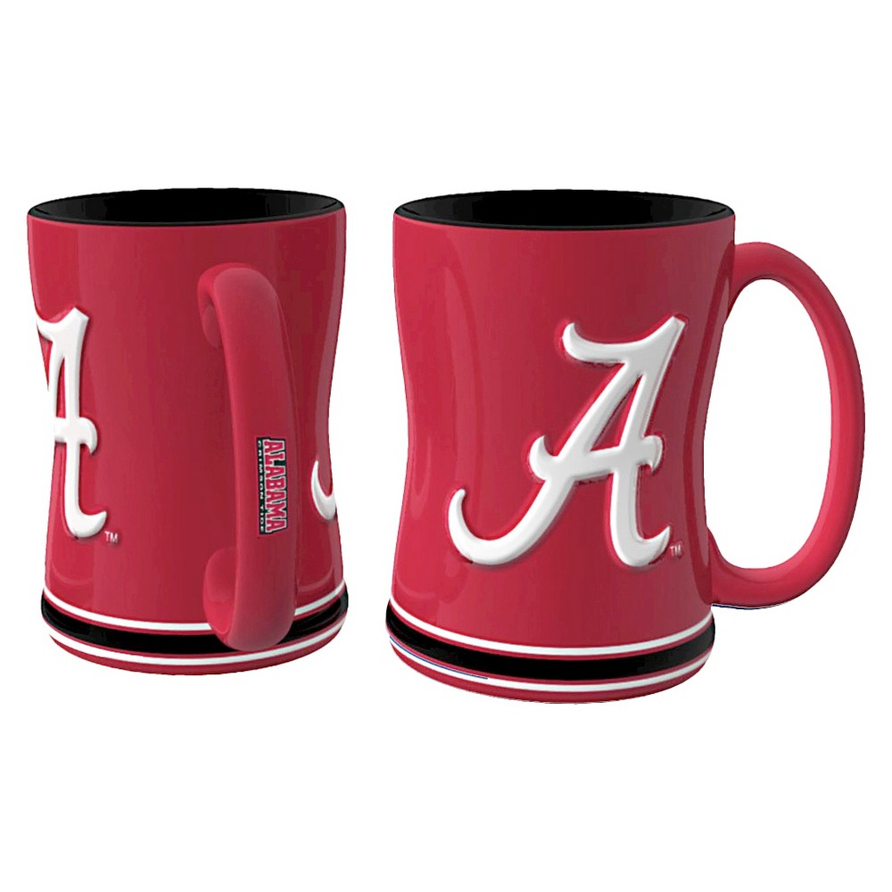 Alabama Crimson Tide Boelter Brands 2 Pack Sculpted Relief Style Coffee Mug - Red (15 oz), Multi-Colored