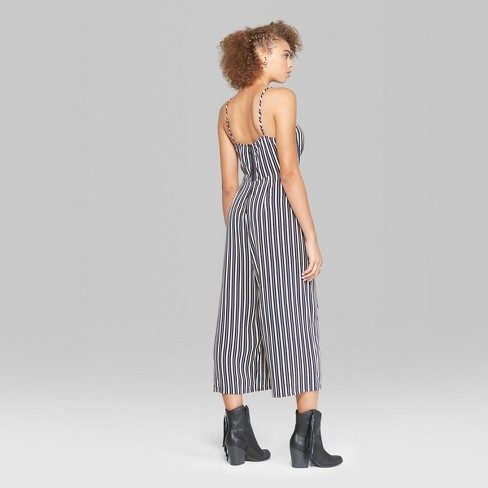 ecfdd654d18 Women s Striped Strappy Cinched Front Jumpsuit - Wild Fable™   Target
