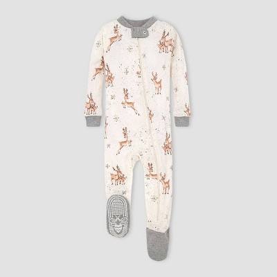 Burt's Bees Baby® Baby Organic Cotton Deer Footed Pajama - Gray 6-9M