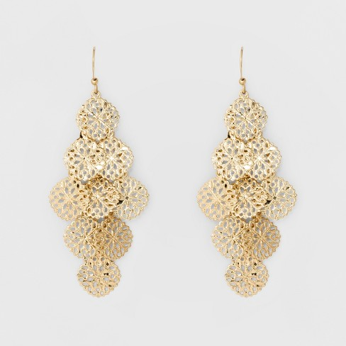 Women's Filigree Cascading Drop Earring - A New Day™ Gold - image 1 of 2