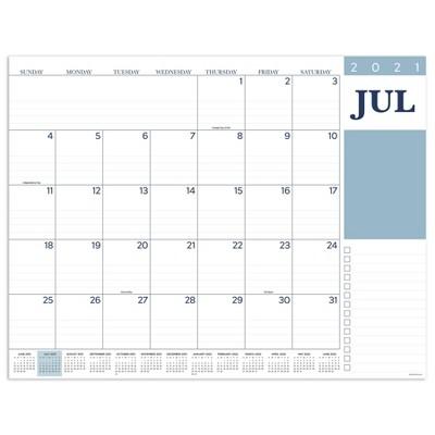 2021-22 Academic Desktop Calendar Professional Large Desk Pad Monthly Blotter - The Time Factory