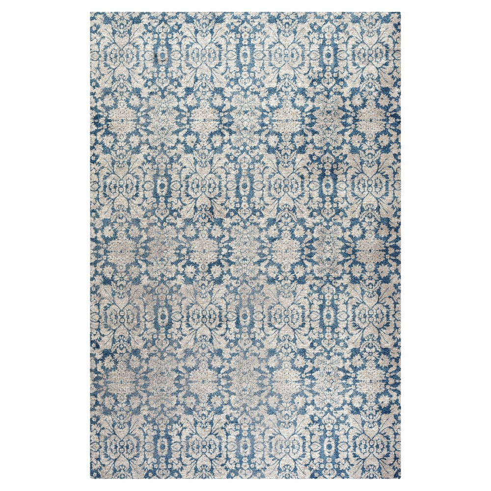 Blue/Beige Abstract Loomed Area Rug - (6'7