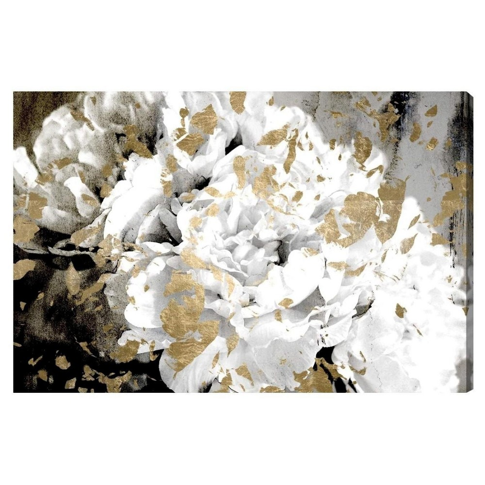 "Image of ""Oliver Gal Unframed Wall """"Petals in the Wind"""" Canvas Art (24x16), White"""