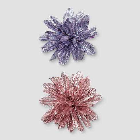 Girls' Shiny Flower Clips 2 pk - Cat & Jack™ Pink/Purple One Size - image 1 of 2