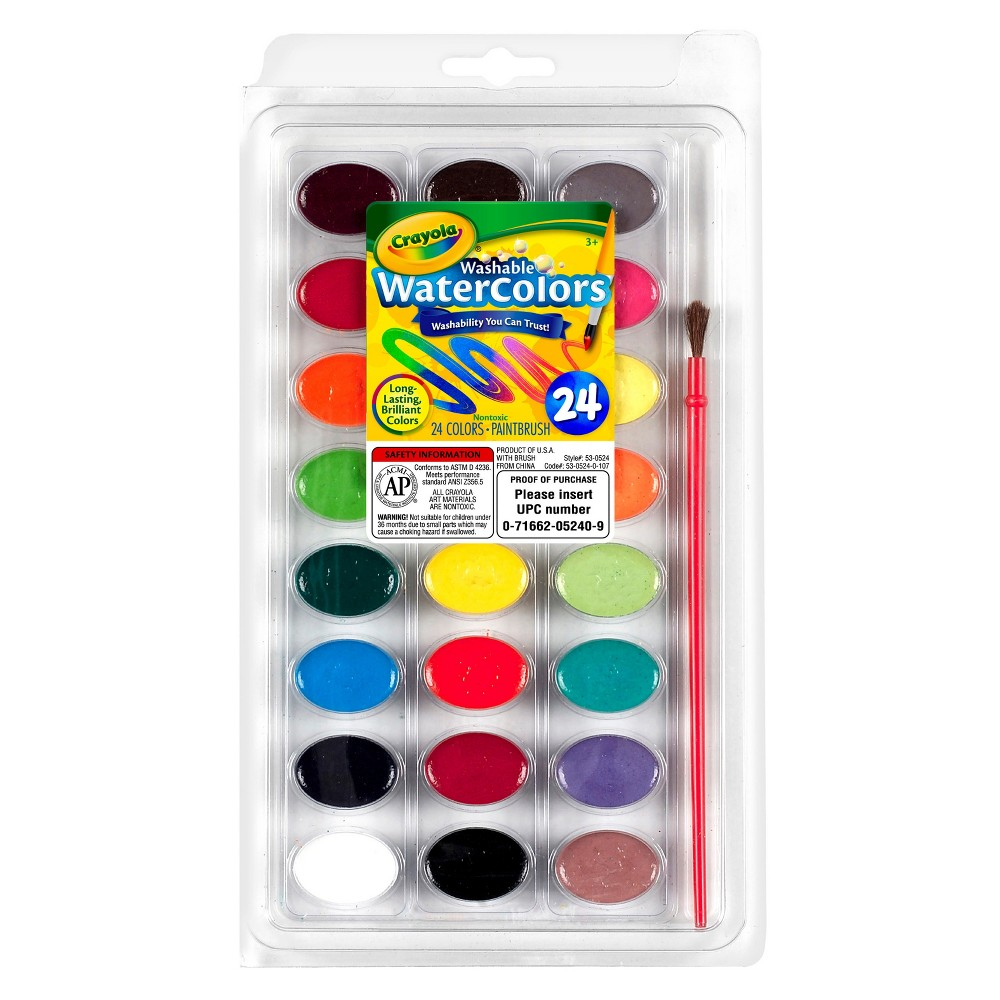 Crayola Watercolor Paints with Brush Washable 24ct, Multi-Colored