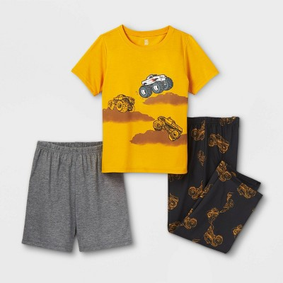 Boys' 3pc Construction Pajama Set - Just One You® made by carter's Gold/Gray