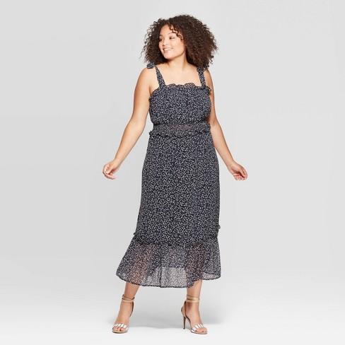 Women\'s Plus Size Sleeveless Square Neck Shoulder Tie Column Dress ...