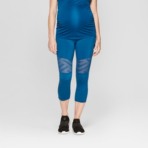 Maternity Active Geo Mesh Capri Leggings - Isabel Maternity by Ingrid & Isabel™ Saphire Burst Blue - image 1 of 5