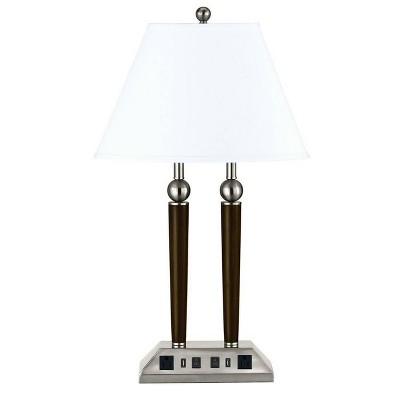 "27"" Metal Double Rod Desk Lamp Espresso/Brushed Steel - Cal Lighting"