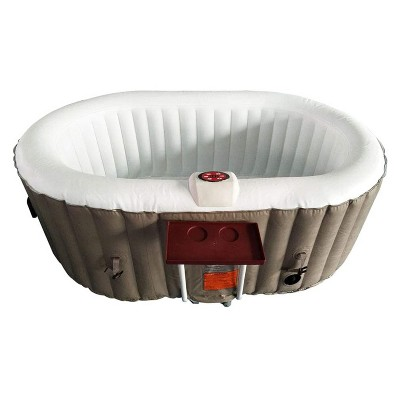 Aleko 145 Gallon Water Capacity PureSpa 2 Person Square Inflatable High Powered Bubble Jetted Hot Tub with Fitted Cover, Brown and White
