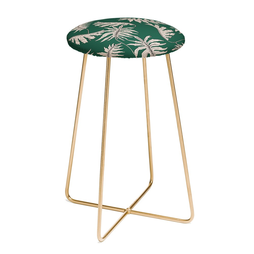 Holli Zollinger Urban Jungle Palm Counter Stool with Gold Aston Legs - Deny Designs, Gold Legs