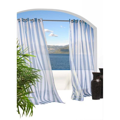 Outdoor Decor Escaped Striped Voile Grommet Top Window Panel Blue