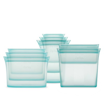 Zip Top Reusable 100% Platinum Silicone Container - Complete Set - Teal