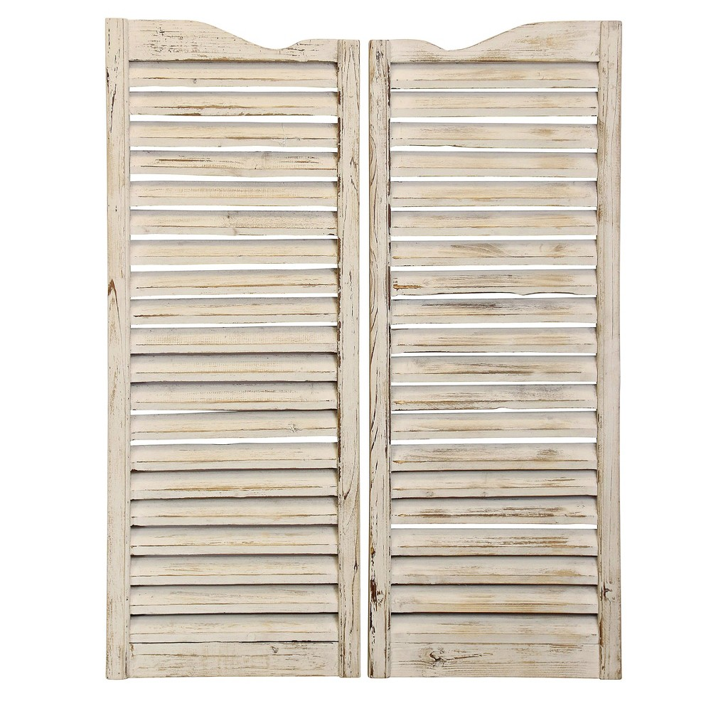 41.1 2pc Wooden Weathered Window Shutters Antique Finish Decorative Wall Art Ivory Cumin - StyleCraft