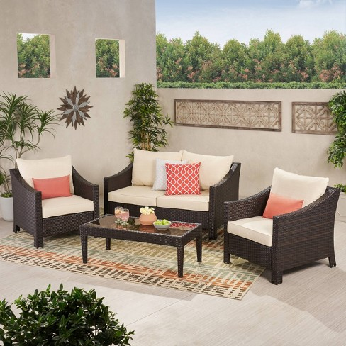 Antibes 4pc Wicker Patio Chat Set With Cushions Multi Brown Christopher Knight Home Target