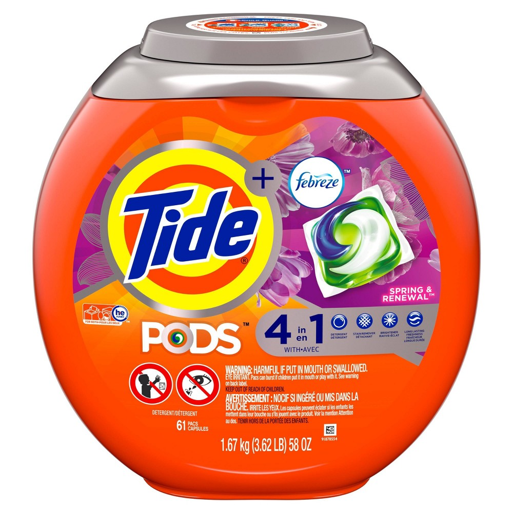 Tide Pods Laundry Detergent Pacs with Febreze Spring & Renewal - 61ct