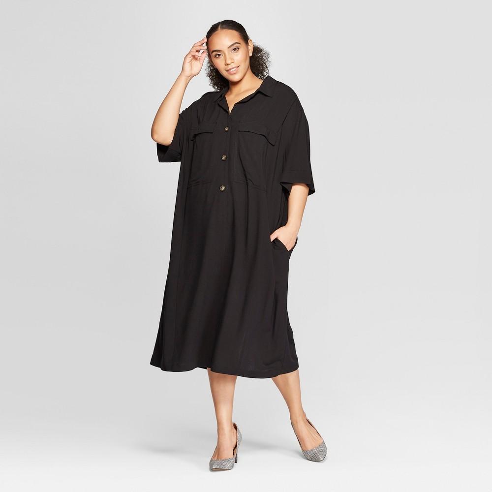 Women's Plus Size Short Sleeve Duo Front Pocket Button Detail Utility Dress - Who What Wear Black 2X