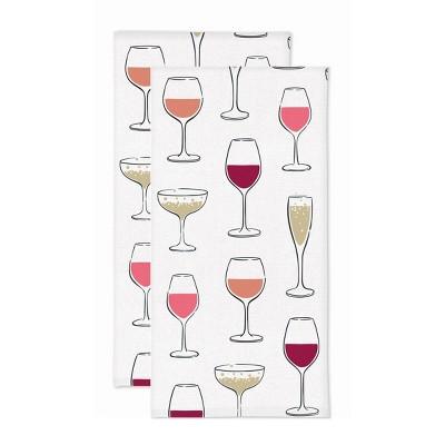 2pk Wine Glass Print Kitchen Towel - MU Kitchen