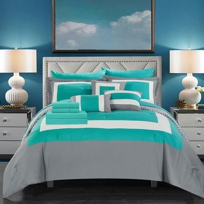 Chic Home Kavalier Color Block Geometric Pattern decorative Pillows & Shams - Turquoise