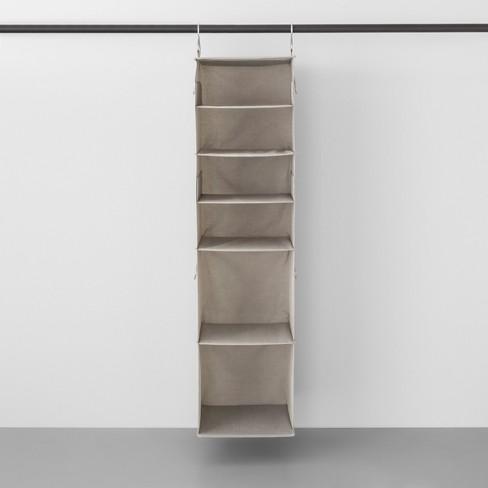 6 Shelf Hanging Fabric Storage Organizer Light Gray - Made By Design™ - image 1 of 4