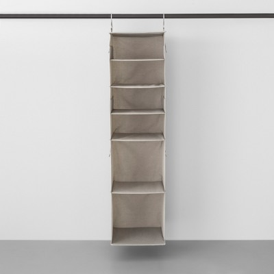 6 Shelf Hanging Fabric Storage Organizer Light Gray   Made By Design™