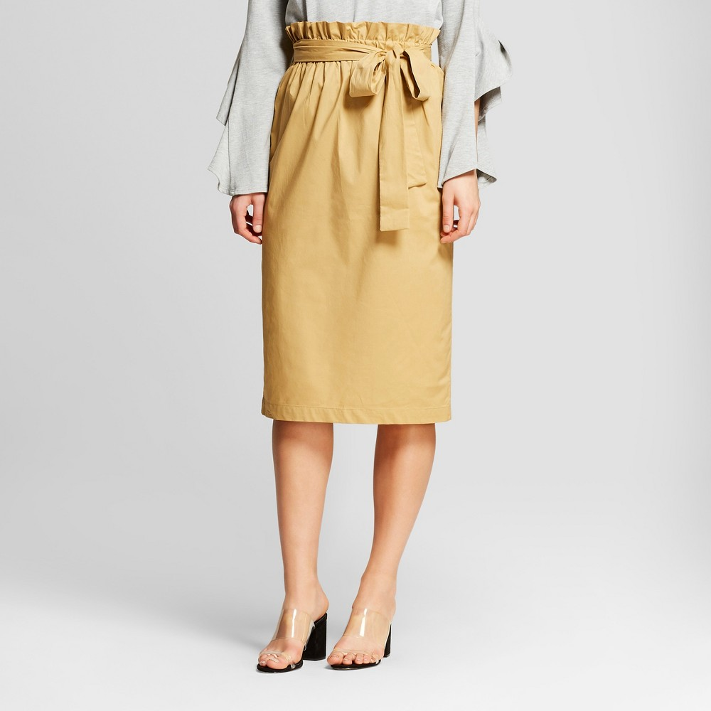 Women's Belted Paperbag Skirt - Who What Wear Tan S