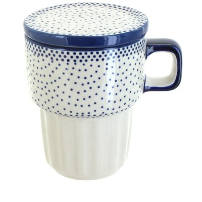 Blue Rose Polish Pottery Small Dots Large Mug with Lid