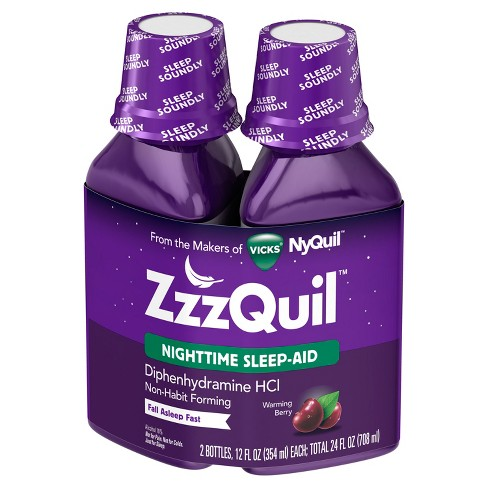 ZzzQuil Nighttime Sleep-Aid Warming Berry Flavor Liquid Twin Pack - 24 Fl Oz - image 1 of 2