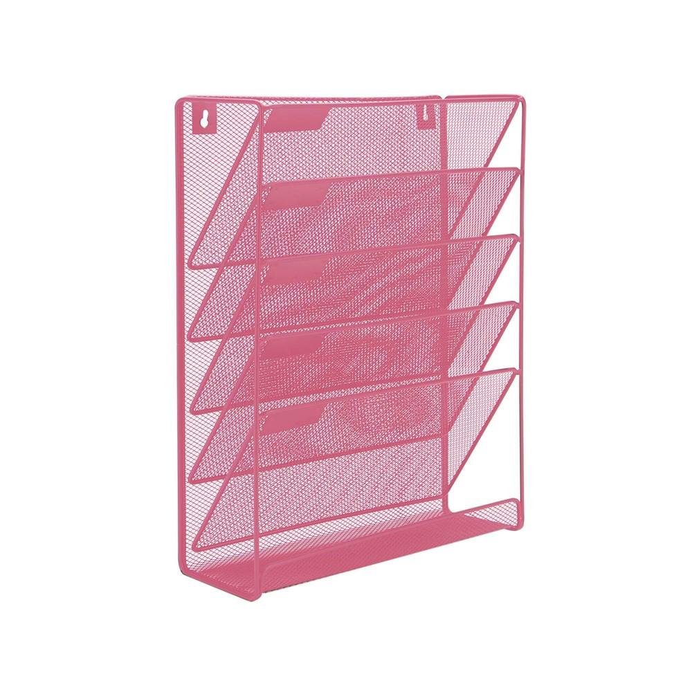 Mind Reader Mesh 6 Pocket Vertical Desk Organizer Pink