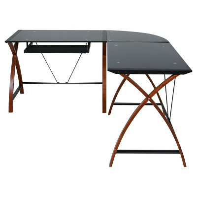 Exceptionnel L Shaped Modern Glass And Wood Desk Black   Onespace