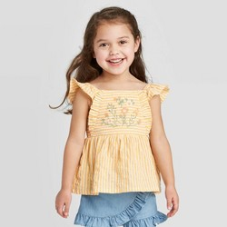 Toddler Girls' Embroidered Blouse - art class™ Yellow