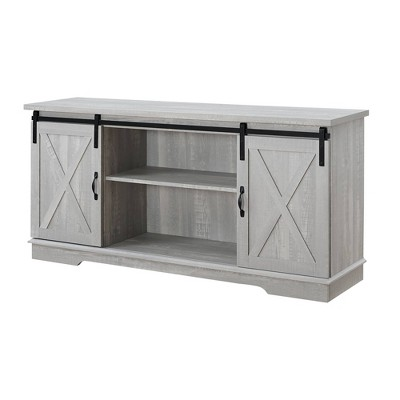 "Modern Farmhouse Wood TV Stand for TVs up to 65"" Stone Gray - Saracina Home"