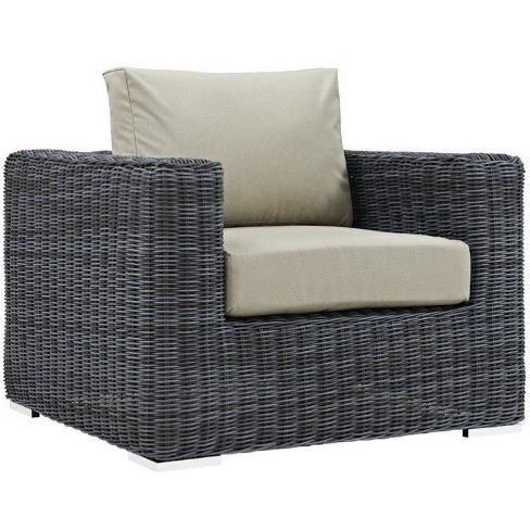 Summon Outdoor Armchair in Canvas Antique Beige - Modway - image 1 of 3