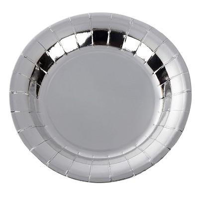 Juvale 48-Pack Silver Disposable Paper Plates Birthday Party Supplies Round 7 Inch