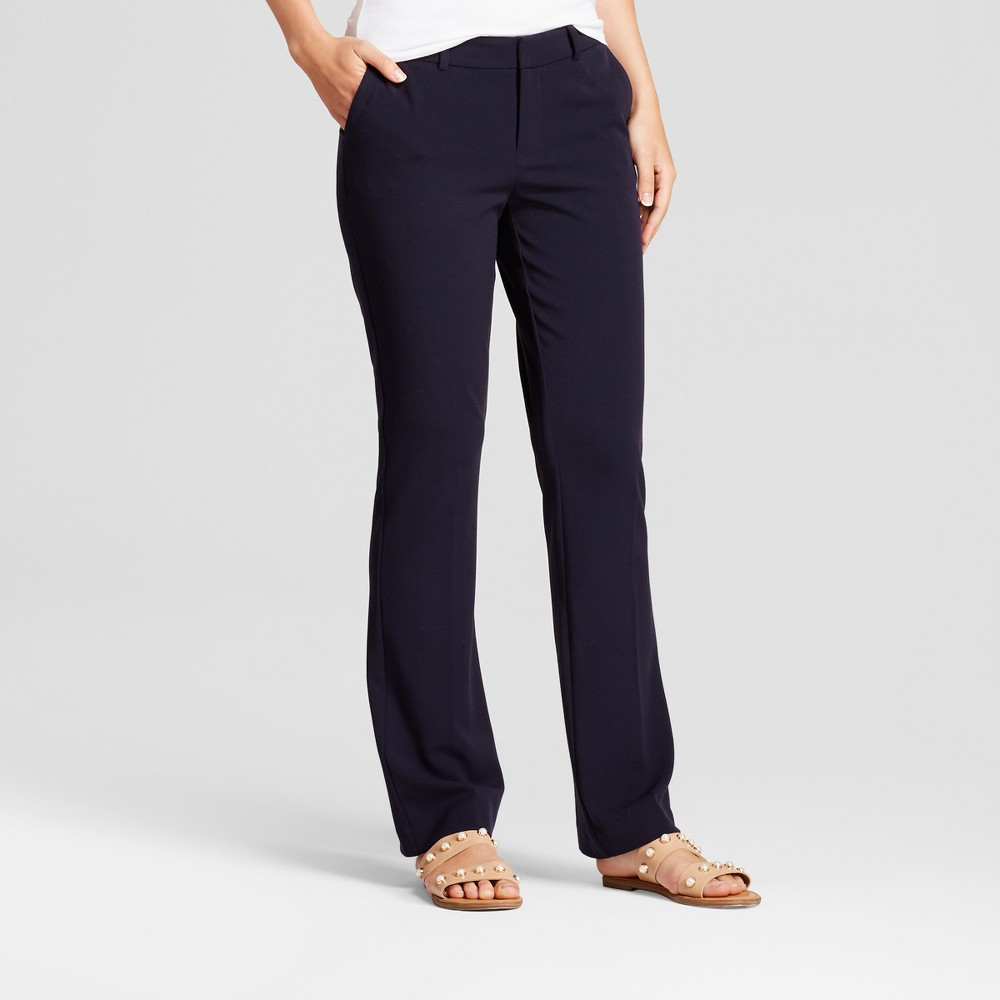Women's Bootcut Bi-Stretch Twill Pants - A New Day Federal Blue 0
