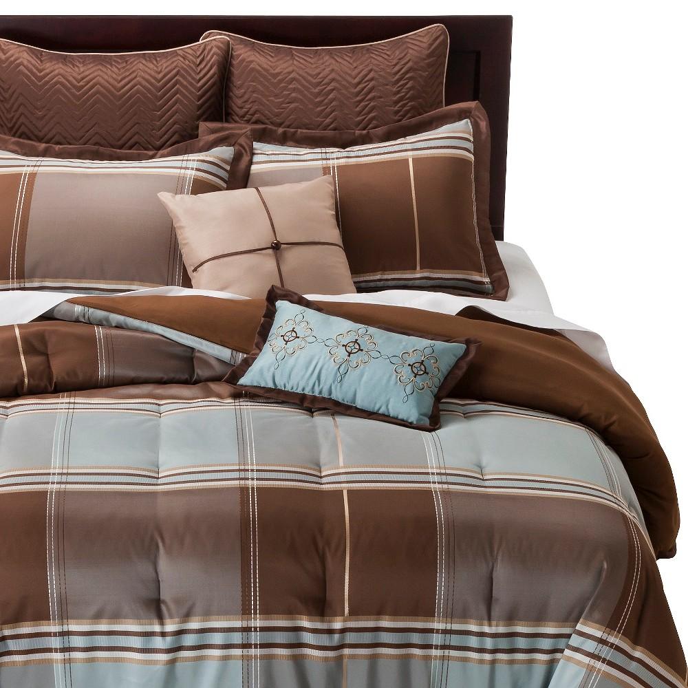 Daniel 8 Piece Comforter Set Brown Blue Queen