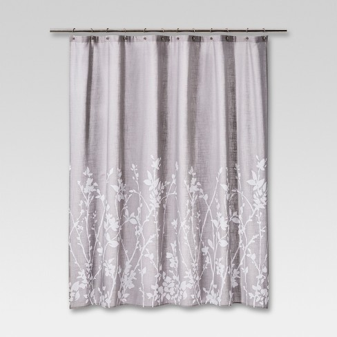 Floral Print Shower Curtain Gray