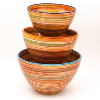 3pc Ceramic Raia Assorted Stacking Bowl Set Orange - Euro Ceramica