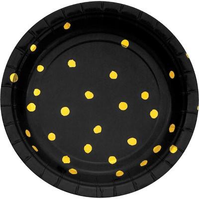 "Black and Gold Foil Dot 7"" Dessert Plates - 8ct"