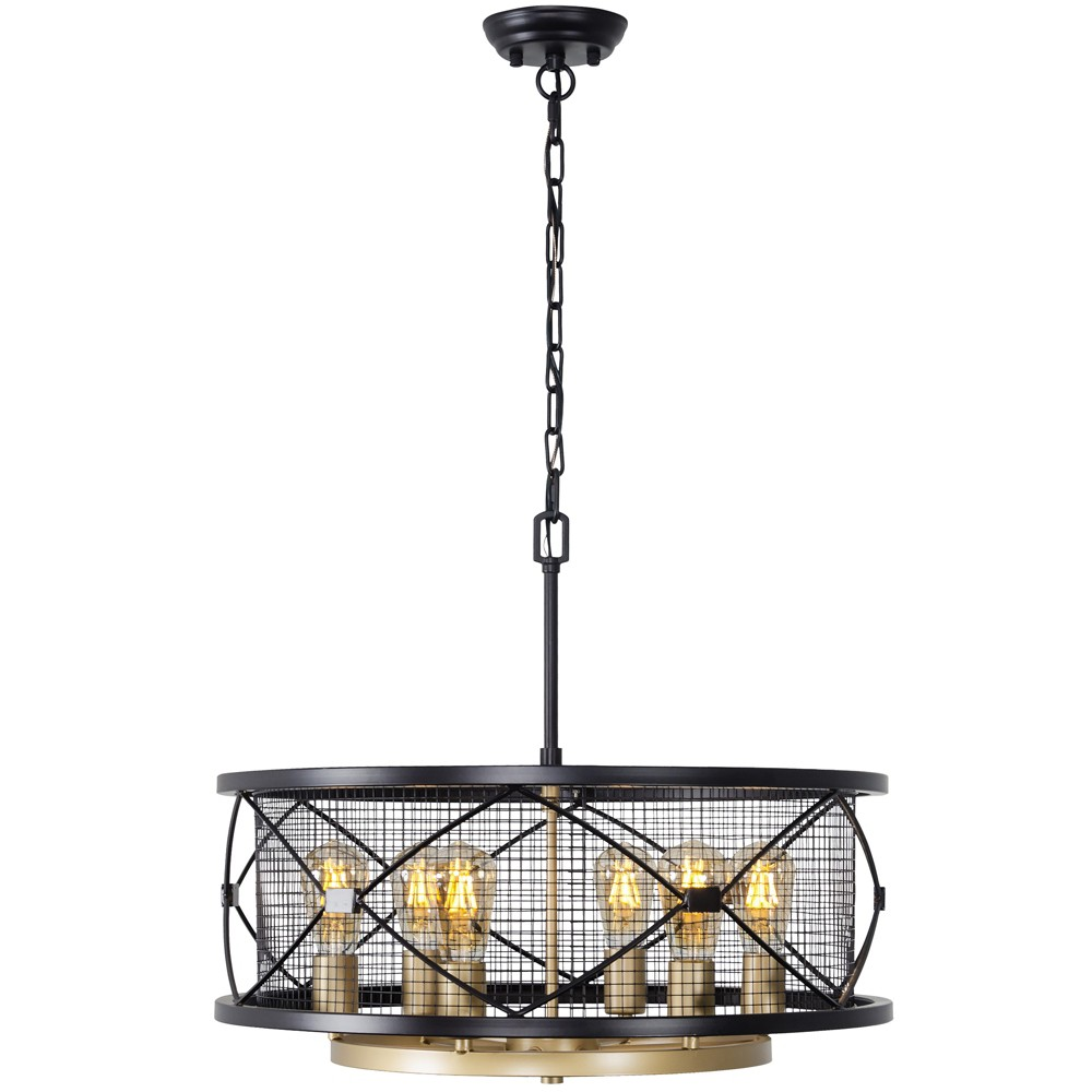 Image of Harlequin 6 Light Pendant Warm Ceiling Light Bronze - Varaluz